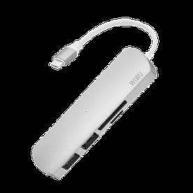USB-хаб адаптер WIWU 4 in 1 Adapter T2 USB-C to microSD + SD + 2 x USB 3.0 Серый (hub_QbiI54485)