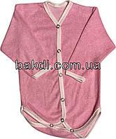 Детское хлопковое боди рост 56 (0-2 мес.) махра розовый на девочку с длинным рукавом для новорожденных Р-007