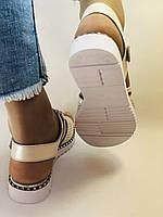 Хіт! Жіночі босоніжки на низькій платформі.Бежевий.Натуральна шкіра.Туреччина.Mario Muzi. Розмір 36 - 40. Vellena, фото 5