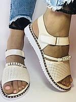 Хіт! Жіночі босоніжки на низькій платформі.Бежевий.Натуральна шкіра.Туреччина.Mario Muzi. Розмір 36 - 40. Vellena, фото 3
