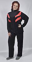 Женский велюровый спортивный костюм больших размеров   (черный/оранжевый)