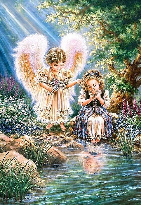 Картина декупаж на дереве икона Ангел-7 Souvenir 29х20,5 см