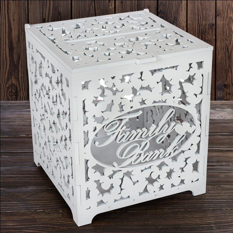 """Весільний дерев'яна скриня """"Family Bank"""" 27х24х24 см, арт. SD-00023"""