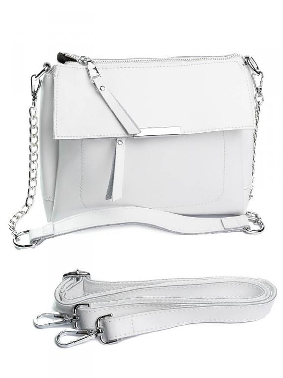 Жіноча шкіряна сумка біла A7228 белая