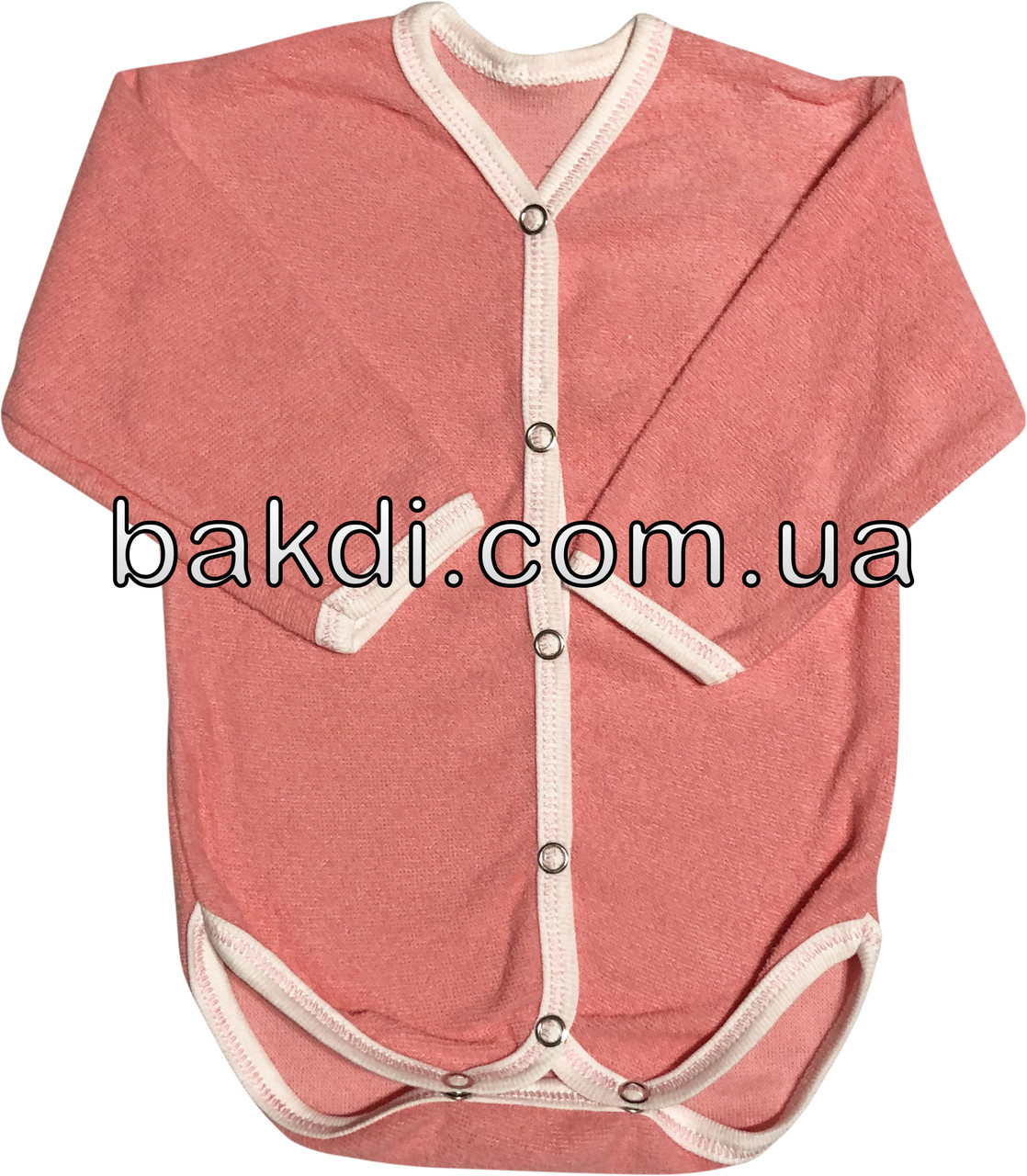 Детское хлопковое боди рост 56 0-2 мес махровое терракотовое на девочку бодик с длинным рукавом для новорожденных малышей Т007