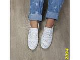Кеды 40 размер  белые со сквозной перфорацией дышащие легкие К2094, фото 4