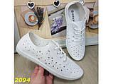 Кеды 40 размер  белые со сквозной перфорацией дышащие легкие К2094, фото 9