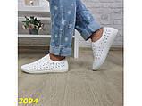 Кеды 40 размер  белые со сквозной перфорацией дышащие легкие К2094, фото 8