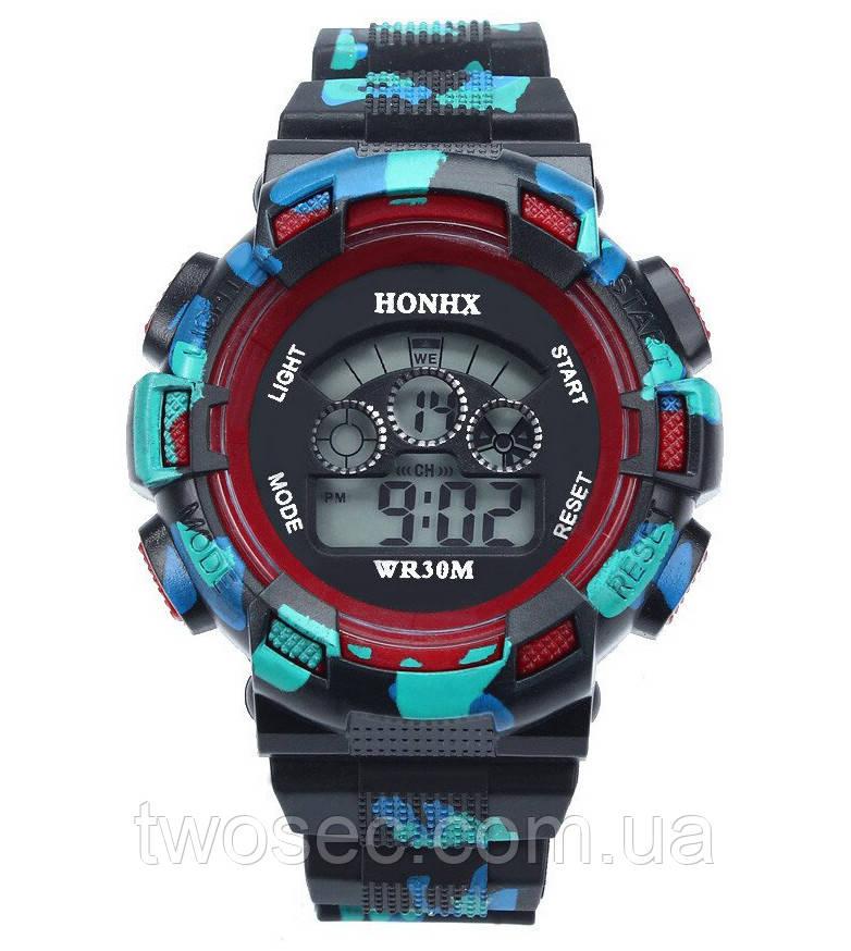 Часы наручные детские электронные, цифровые для мальчика Honhx черные, красные, камуфляж, с будильником
