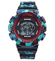 Часы наручные детские электронные, цифровые для мальчика Honhx черные, красные, камуфляж, с будильником, фото 1