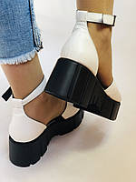 Хіт! Модні жіночі босоніжки на середній танкетці.Білі.Натуральна шкіра.Туреччина. Розмір 37,40. Vellena, фото 8