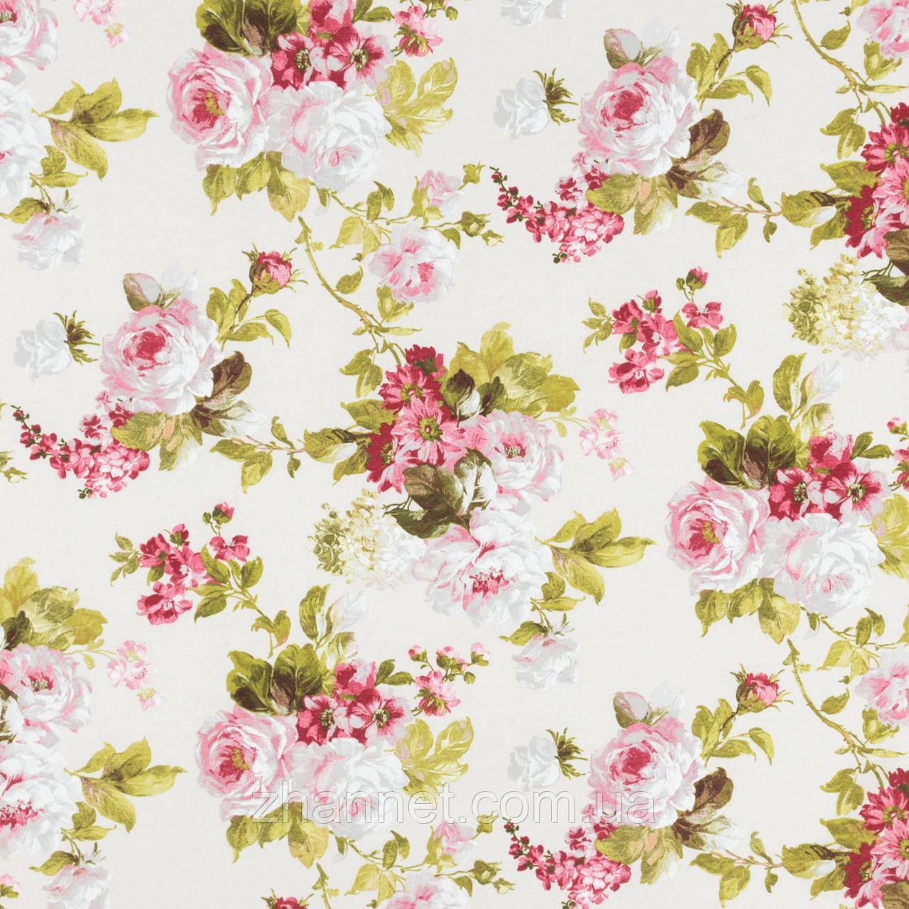 Ткань для штор Floral большие цветы молочный (471161)