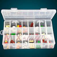 Пластиковый органайзер с крышкой для украшений и мелочей на 24 ячейки Arivans 19х13х4 см
