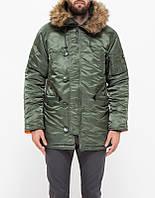 Зимняя куртка аляска Alpha Industries Slim Fit N-3B Parka MJN31210C1 (Sage/Orange), фото 1
