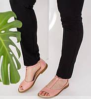 Нежные женские розовые кожаные босоножки 36-41р