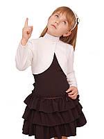 """Болеро детское нарядное М-940  рост 98-158   белое французкий трикотаж тм """"Попелюшка"""""""