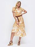 Літнє плаття в смужку і рукавом ліхтарик, фото 2