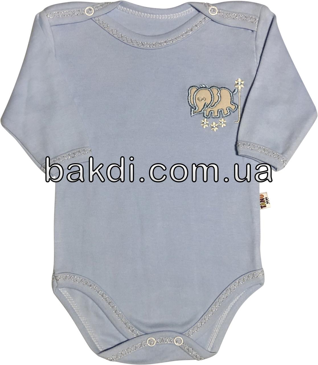 Детское боди на мальчика рост 68 3-6 мес для новорожденных трикотажное с четвертным рукавом голубое
