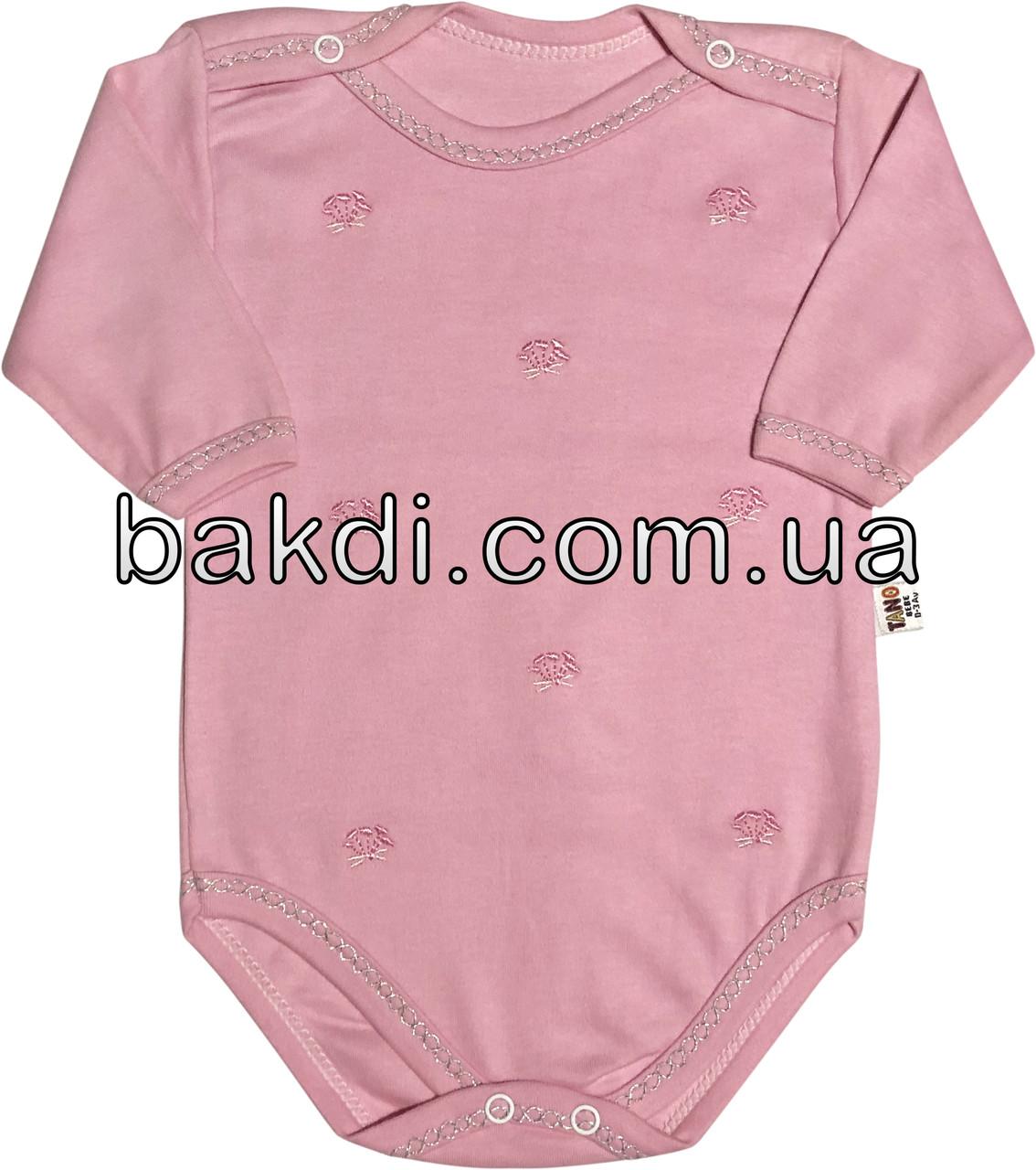 Детское боди на девочку рост 56 0-2 мес для новорожденных трикотажное с четвертным рукавом розовое