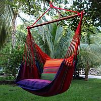Гамак, кресло, с планкой, с двумя подушками, хлопковый, натуральный, прочный, качественный, до 150кг