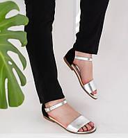 Женские кожаные босоножки серебро+черный 36-41р