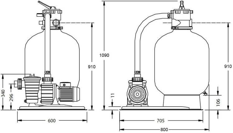 Pentair Water 12 м3/ч 0,75 кВт SW19 фильтрационная установка для бассейнов , фото 2