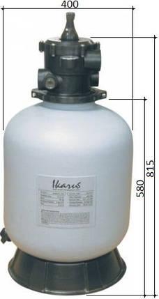 Gemaş IKARUS PE 400 6,5 м3/час песчаный фильтр для бассейна полиэтиленовый корпус, фото 2