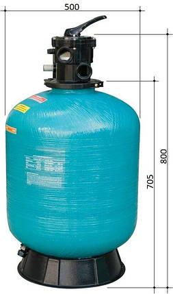 Gemaş Turbidron 500-CL 10 м3/час песчаный фильтр для бассейна стеклопластиковый корпус, фото 2
