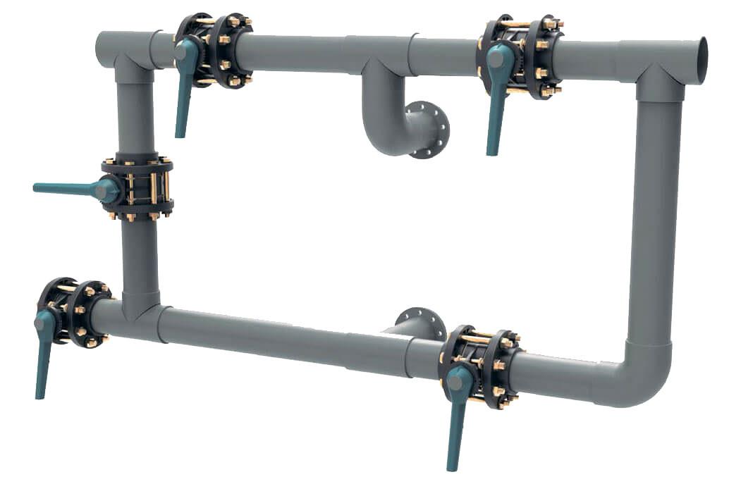 5-ти крановая обвязка для песчаных фильтров 75 мм