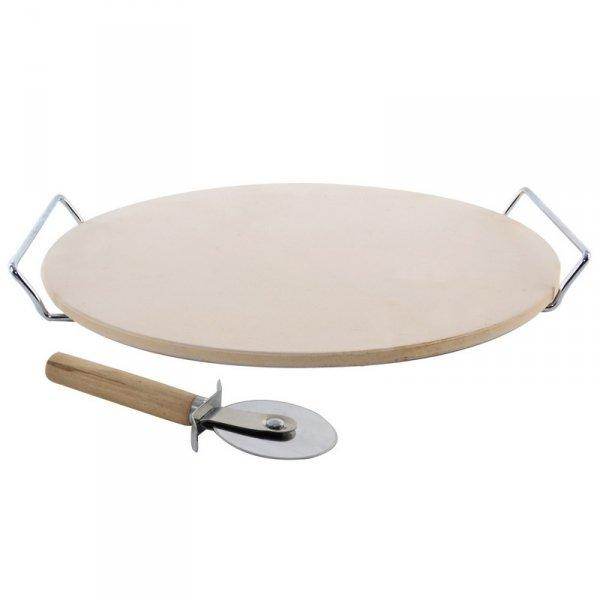 Камень для выпечки пиццы с ручками + нож Orion, 33 см