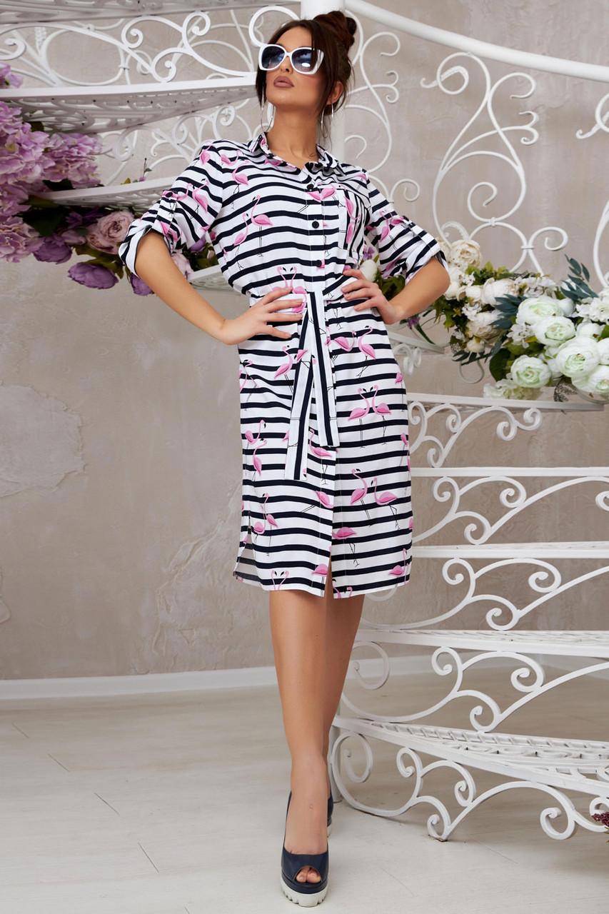 Повседневное летнее платье–рубашка 1331 (42–48р) в расцветках