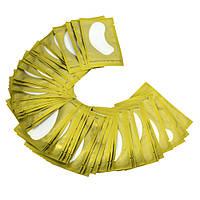 Безворсовые гелевые патчи для наращивания ресниц под глаза 50 пар (пачка) Золотые, 50, Пластырь профессиональный