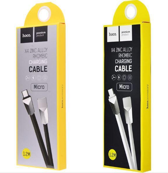 Шнур USB Cable Hoco X4 Zinc Alloy Rhombic Micro USB 1.2m