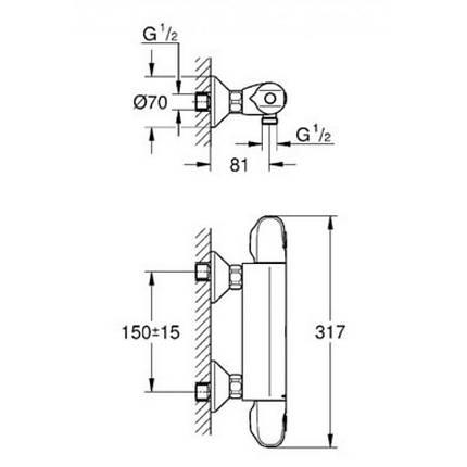 Смеситель термостатический для душа Grohe Grohtherm 1000 34143003, фото 2