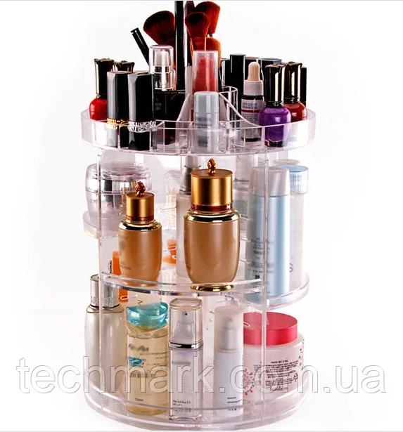 Акриловый органайзер для косметики вращающийся Cosmet Ics Box  JN-820. Регулируемые полки