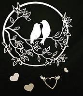 Панно настенное Птички на ветке. Декоративное панно из дерева. Интерьерный декор.