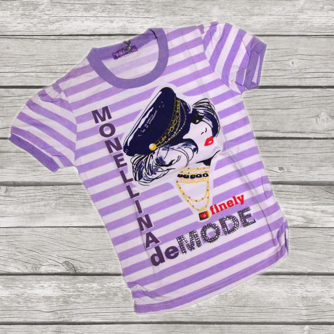 Річна підліткова футболка для дівчинки 158-164 зростання бузкова в смужку