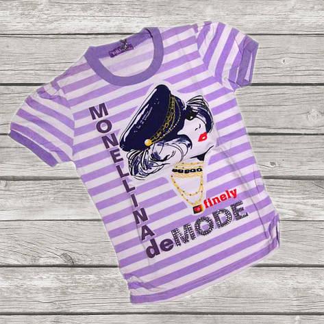 Річна підліткова футболка для дівчинки 158-164 зростання бузкова в смужку, фото 2