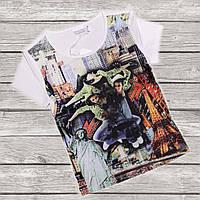 Брендовая футболка для девочки Modalora 134 рост белая со стразами
