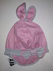 Детская летняя кепка с узелком для девочки розовая в белую полоску (AJS, Польша)