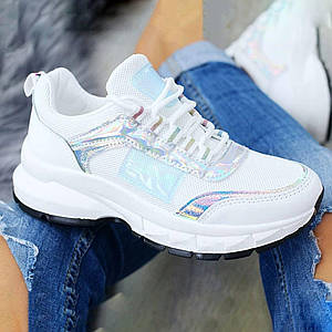 Модные женские кроссовки белые из искусственной кожи и сетки 1172664368