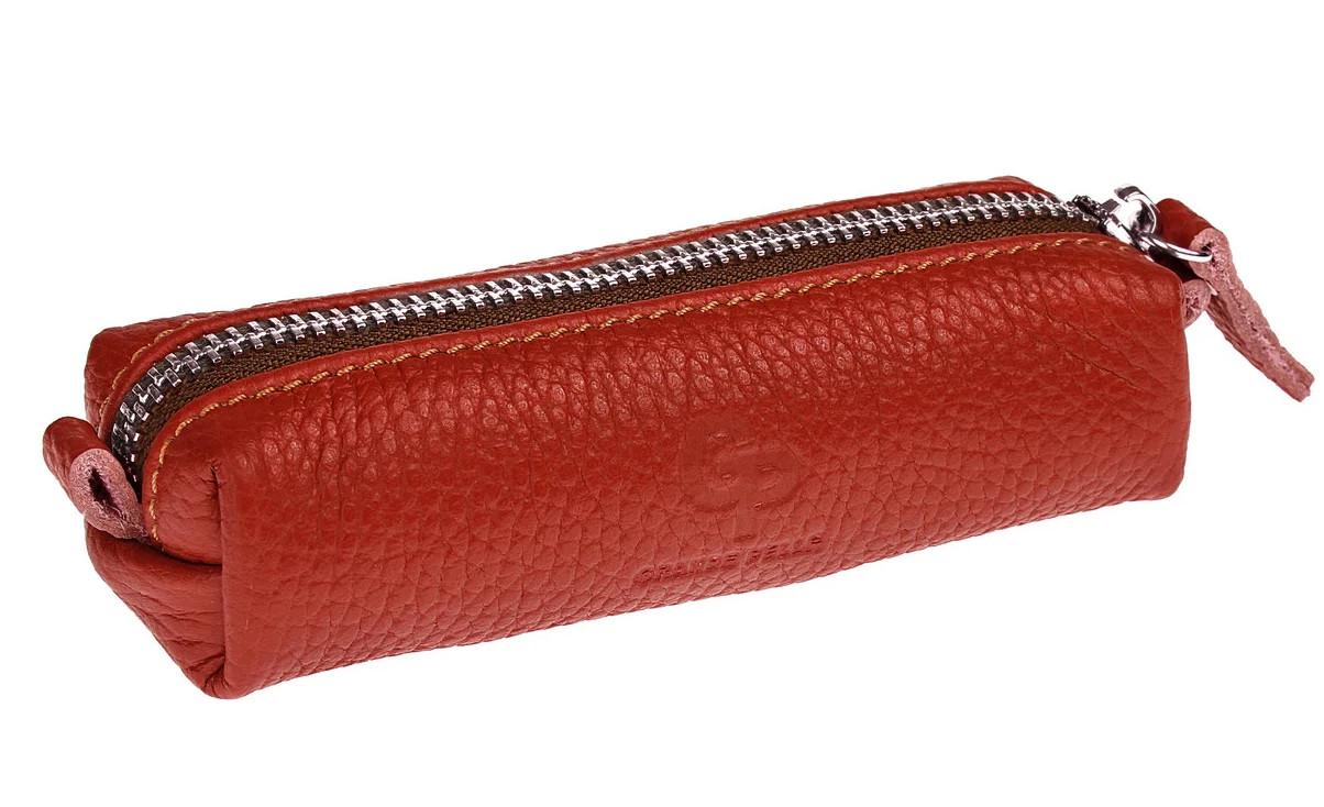 Красная женская кожаная ключница на молнии Grande Pelle