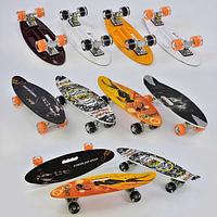 Скейт С 32040 Best Board, дека с ручкой, 4 вида, доска=60 см, колеса PU, колеса - светятся