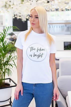 Белая женская футболка из хлопка с надписью, р.42,44,46 код 7030А, фото 2