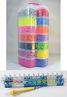 Набор резинок для плетения браслетов большой 7 ярусов Яблоко 15000 резиночек с профессиональным станком