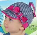 Детская летняя кепка с узелком для девочки розовая в белую полоску (AJS, Польша), фото 6