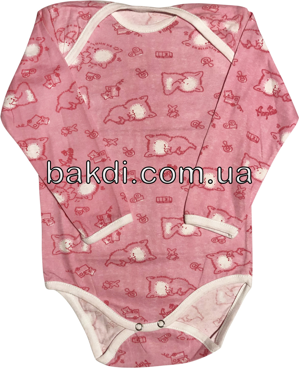 Детское тонкое боди рост 86 1-1,5 года хлопковое кулир розовое на девочку бодик с длинным рукавом для новорожденных малышей Ч780
