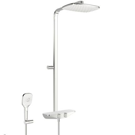 Душевая система со смесителем та ручным душем 7590-11 ESTETA хром/белый, фото 2