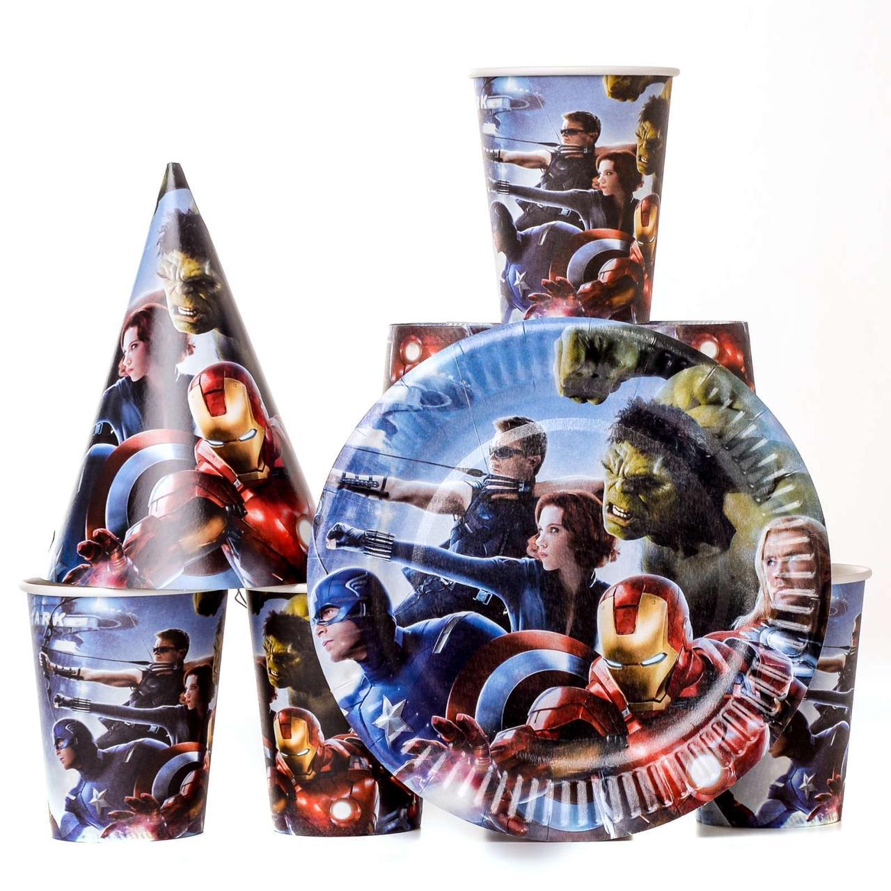 Одноразовая детская посуда мстители avengers набор на 10 персон