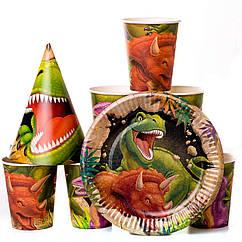 Набор детской одноразовой праздничной посуды динозавры